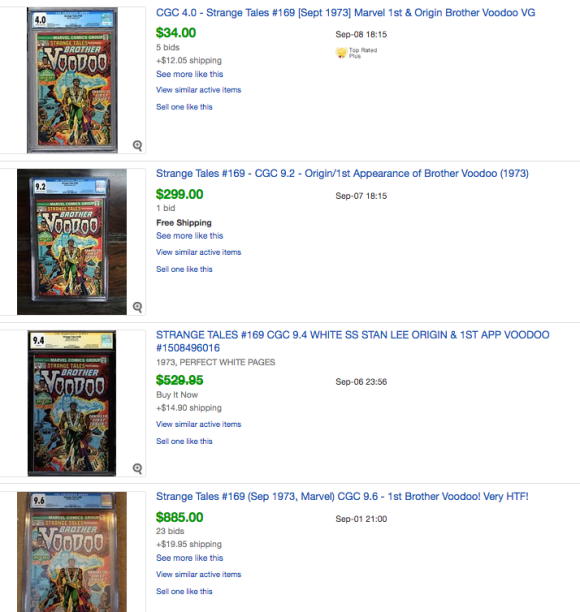 Ebay prices of Strange Tales 169