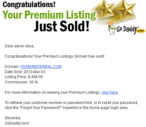 domains sold through godaddy premium listing