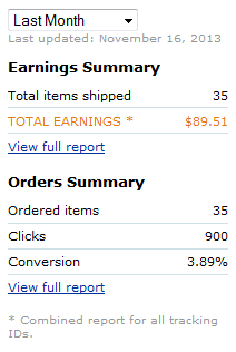 amazon monthly earnings for october 2013